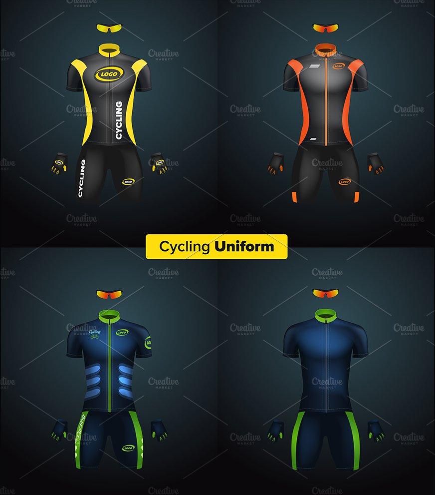 Realistic vector cycling uniform set ~ Product Mockups ~ Creative Market 91e866724