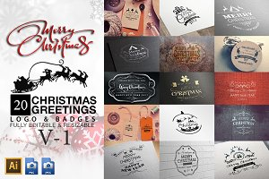 Christmas Greetings Logo & Badges V1