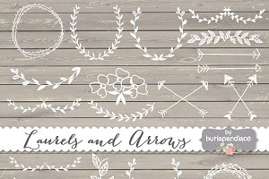 Vector Rustic laurels arrows clipart