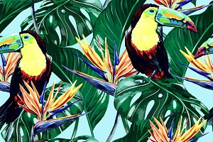 Toucans, jungle leaves pattern