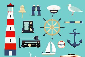 Sea symbols nautical elements vector