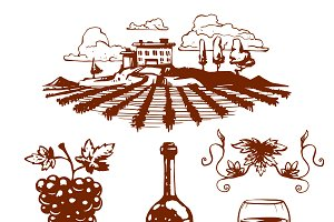 Vinery grape agriculture vector