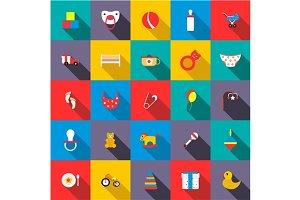 Toys icons set, flat style