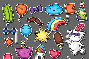 Carnival party kawaii sticker set.