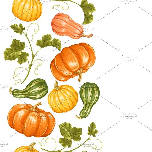 Seamless borders with pumpkins.