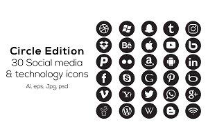 30 Circle social media icons