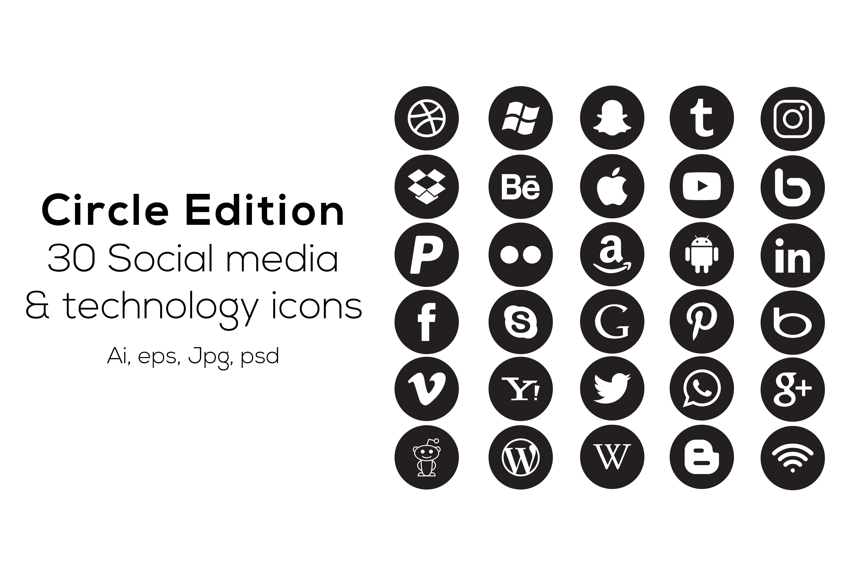 30 circle social media icons icons creative market