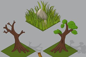 isometric forest elements