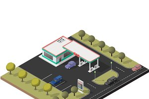 Isometric small gas station