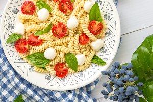 Italian Food. Fusilli Pasta Caprese