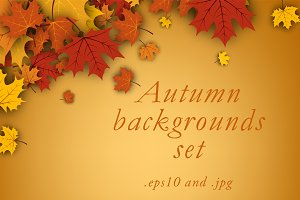 Golden autumn backgrounds set