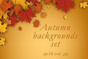 Golden autumn backgrounds set