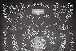 Chalkboard Rustic Wedding Clipart Illustrations Creative Market