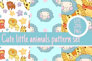 8 cute animal pattern set