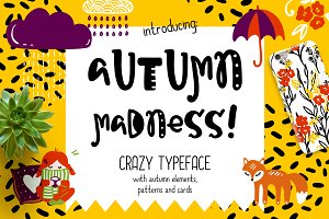Autumn Madness Typefase & Elements