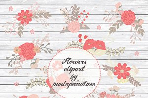 Vector Rustic coral red flower