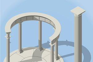 isometric ancient rotunda
