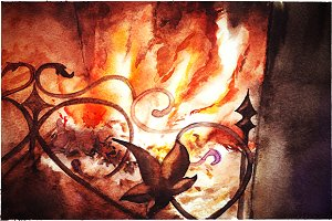 Watercolor fireplace illustration