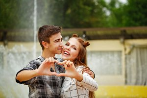 Enamoured teenagers made heart