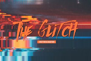 20 Glitch Backgrounds Vector Part 2