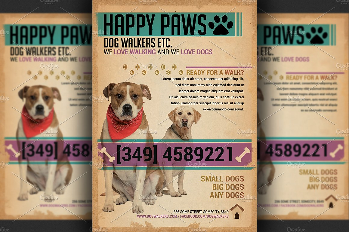 Dog walkers flyer template flyer templates creative market maxwellsz