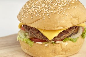 Delicious burger with beef