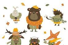 Set of cartoon autumn characters