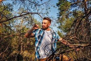 Lumberjack holding an ax.