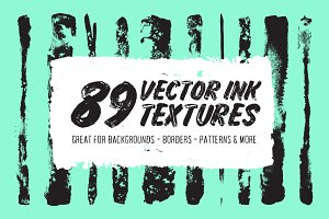 89 Vector Ink Strokes & Textures