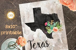 8x10 Texas Printable Art