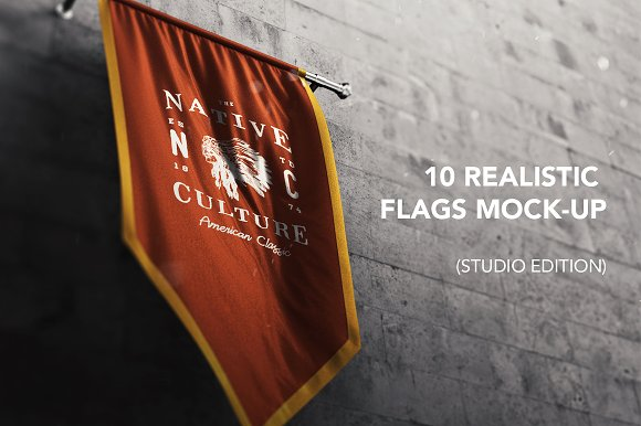 Free 10 Realistic 3D Flags Mock-Up