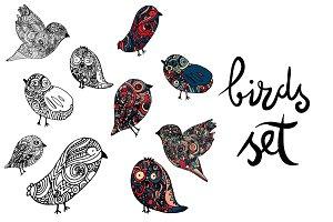 Doodle birds set