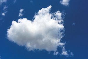 Cloud shaped heart in the blue sky