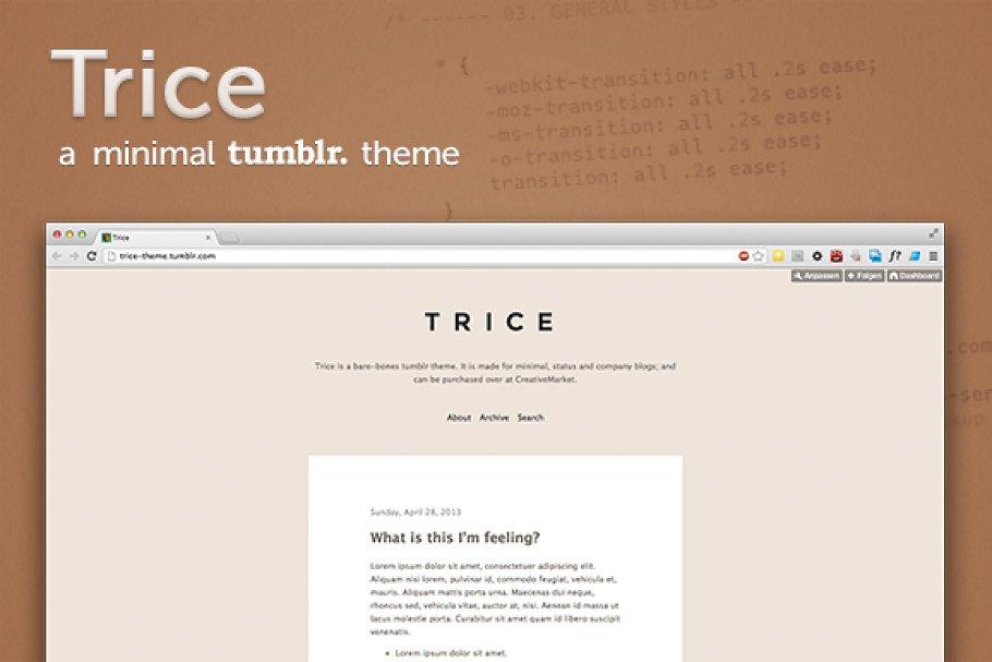 Trice ~ a minimal tumblr theme ~ Tumblr Themes ~ Creative Market