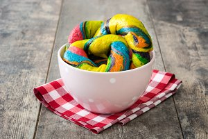 Colorful bagels in a bowl