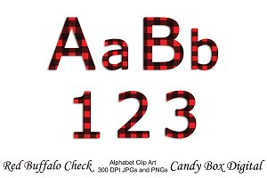 Red Buffalo Check Alphabet Clip Art