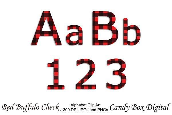 Red Buffalo Check Alphabet Clip Art