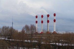 Smoking chimneys and Ostankino TV Tower in winter 2016