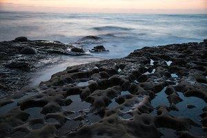 Ocean and Rock at Dusk 2