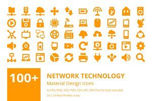 100+ Network Technology Icons Set