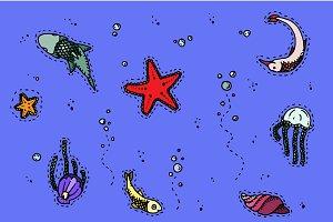 Under sea creators. Vector