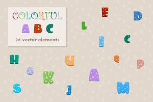 Vector cartoon colorful alphabet.