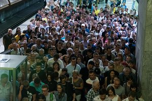 Metro in Moscow during rush hour