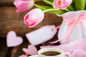 Coffee, pink hearts and tulips