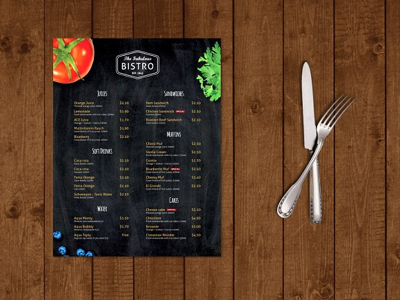 Modern BistroCafe Menu Template Brochure Templates on Creative – Cafe Menu Template