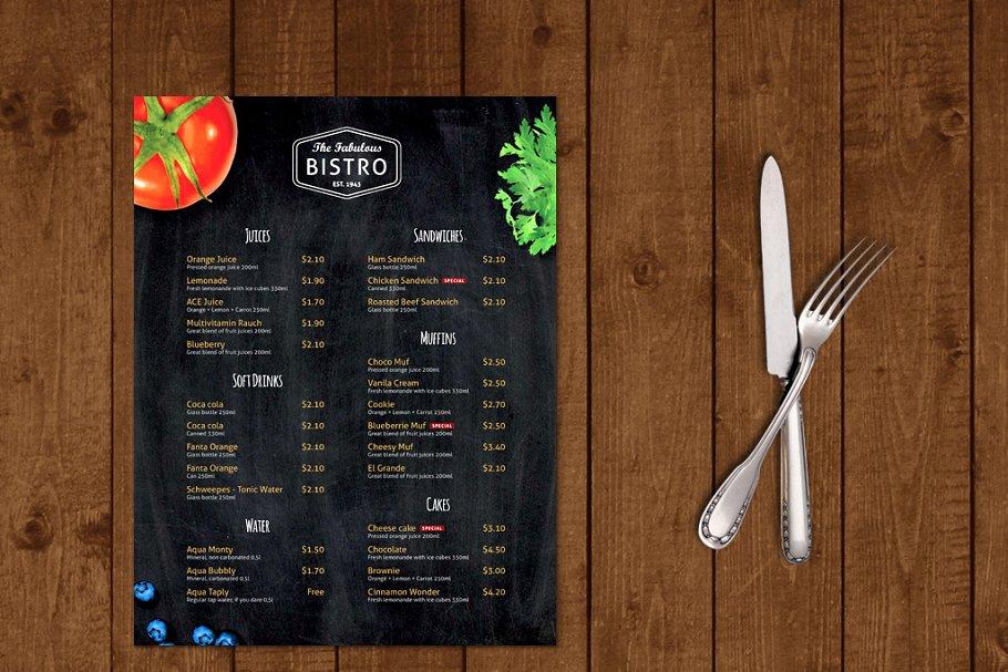 Modern Bistro Cafe Menu Template Brochure Templates Creative Market