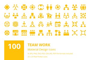 100 Team Work Material Design Icons