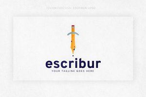 Escribur Pencil Sword Logo Template