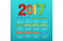 Calendar for a year 2017.