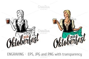 Woman oktoberfest hold beer mug